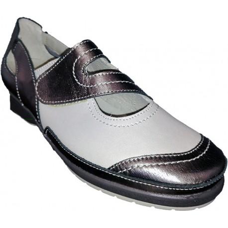Zapato con Velcro en color Bronce y beige Valdegama