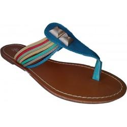 Sandalia para mujer con tiras de colores