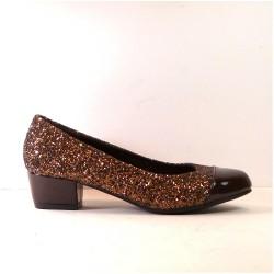 Zapato para mujer de tacón bajo con glitter