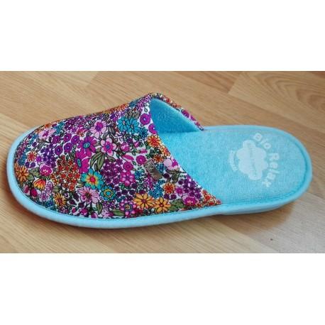 Zapatilla de casa en lila para mujer con tejido de verano de la casa Biorelax ref:4005