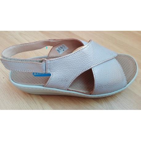 Sandalia de mujer en metalizado taupe de la casa Valdegama ref: V104R9398