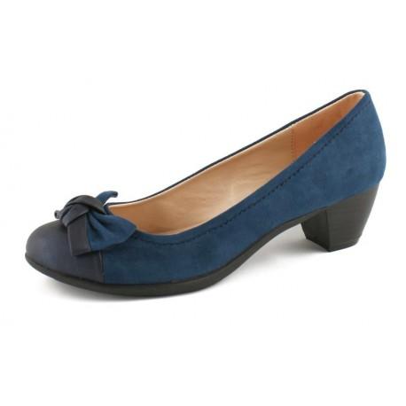 Zapato de tacón bajo en azul casa Lolablue.Ref:34D714