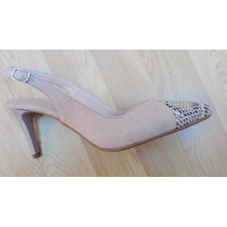 Zapato de vestir con tacón de 8cm en ante_dragón combinado en gamo_crema de la casa Digo Digo ref: 1347