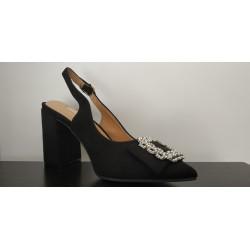 Zapato de salón en ante negro. Ref: LA-18366